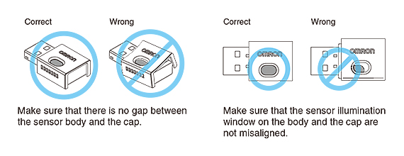 Make sure that there is no gap between the sensor body and the cap. Make sure that the sensor illumination window on the body and the cap are not misaligned.