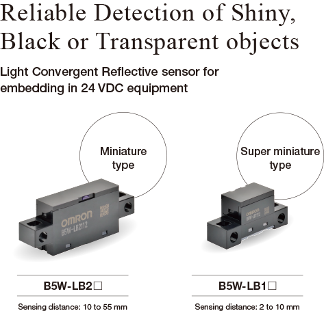 [Reliable Detection of Shiny,Black or Transparent objects]Light Convergent Reflective sensor for embedding in 24 VDC equipment [Miniature type]B5W-LB2 Sensing distance: 10 to 55 mm