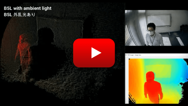 OMRON's 3D TOF Sensor Module demonstration video: With ambient light