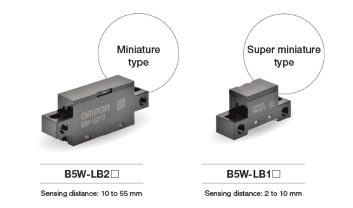 The miniature type and super miniature type of B5W-LB sensors next to each other with sensing distances listed.