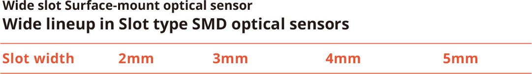 Wide slot Surface-mount optical sensor Wide lineup in Slot type SMD optical sensors/Slot width:2mm,3mm,4mm,5mm