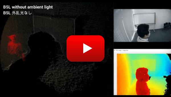 3D TOF センサモジュール サンプルムービー:外乱光なし