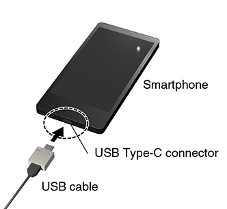 Smartphone USB Type-C connector USB cable